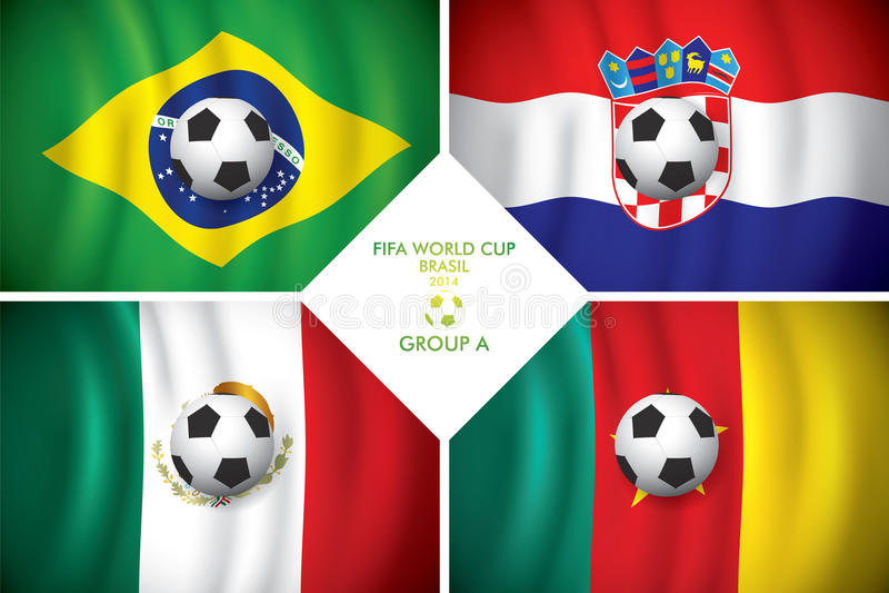 Brazylia 2014 grupy A. FIFA słowo filiżanka. royalty ilustracja