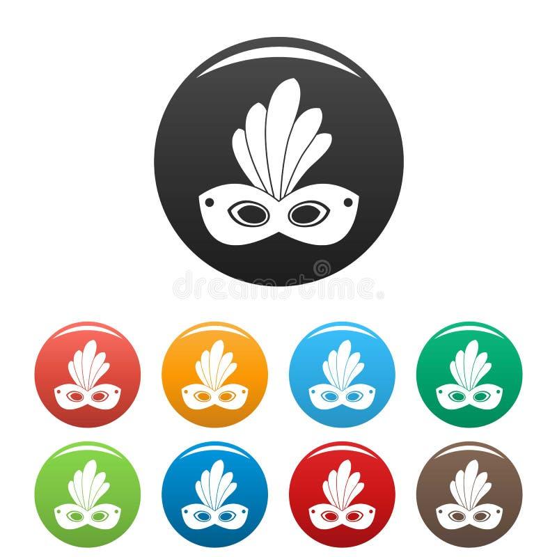 Brazylia karnawa?u maski ikona ustawiaj?cy kolor royalty ilustracja