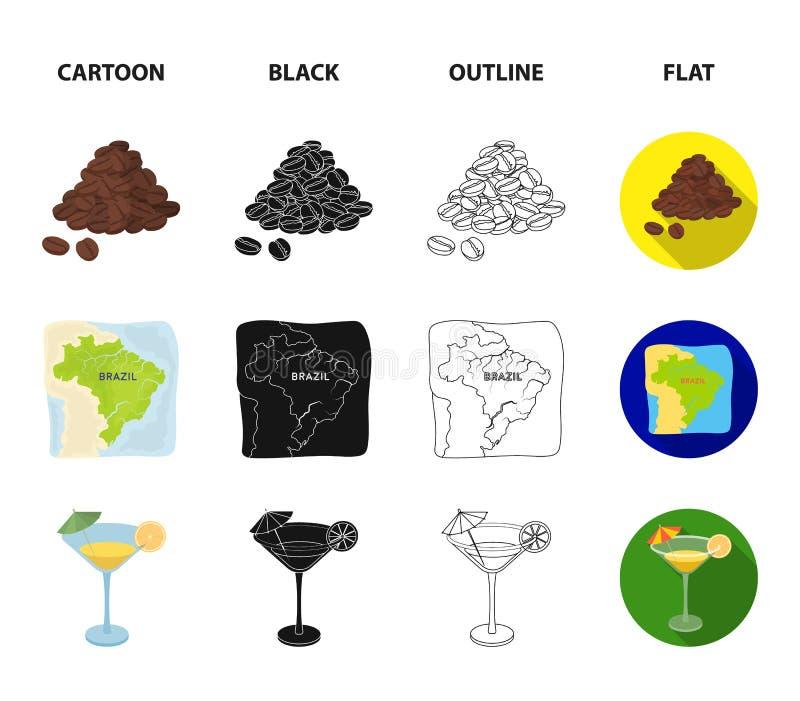 Brazylia, kraj, maska, karnawał Brazylia kraju ustalone inkasowe ikony w kreskówce, czerń, kontur, mieszkanie stylowy wektorowy s ilustracji