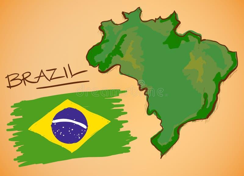 Brazylia mapa i flaga państowowa wektor royalty ilustracja