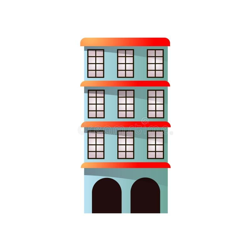 Brazylia miasta budynek z wielo- podłogą, duzi okno ilustracja wektor