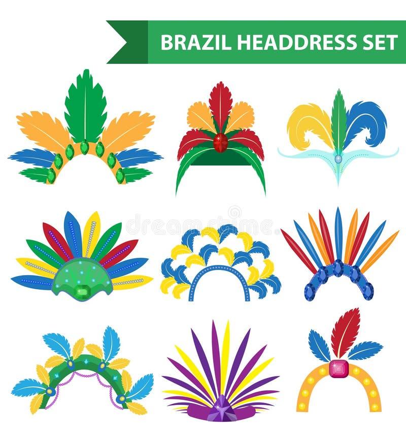 Brazylia piórka kapitałki pióropuszu ikon mieszkania styl Headpiece karnawał, samba festiwalu headwear Odizolowywający na bielu royalty ilustracja