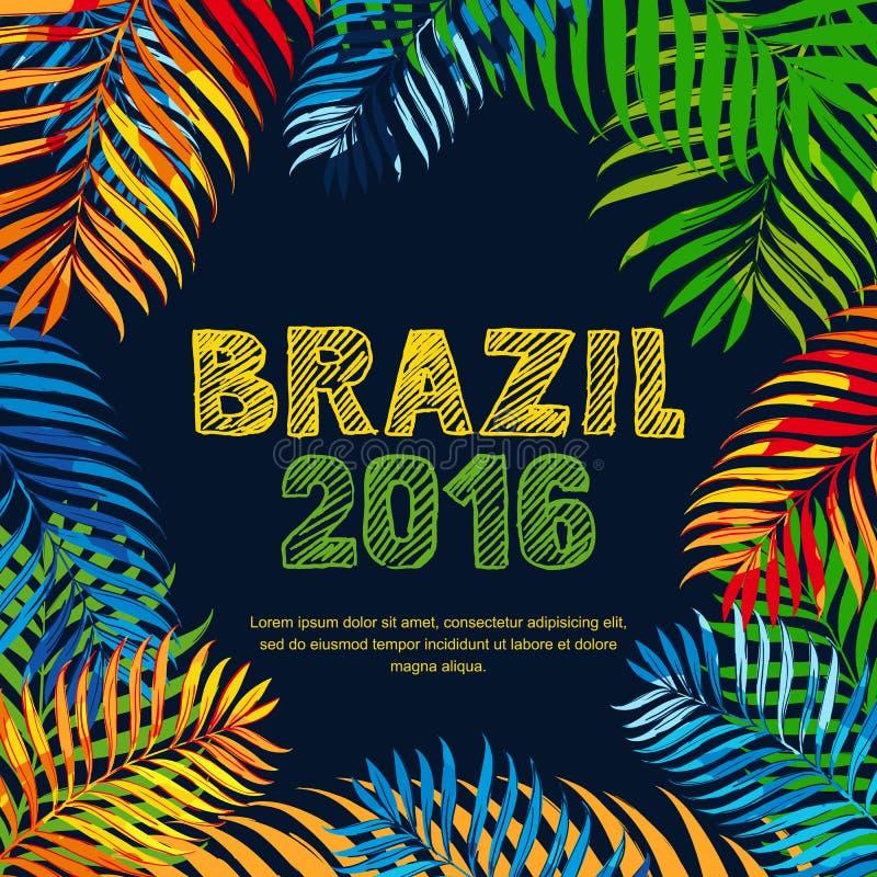 Brazylia 2016 ręka rysujący kreślący porysowany literowanie Lata kwiecisty tropikalny tło royalty ilustracja