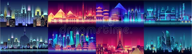 Brazylia rosjanin Francja, Japonia, India, Egipt usa miasta nocy architektury Porcelanowych neonowych stylowych budynków kraj gro royalty ilustracja