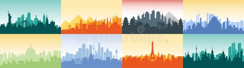 Brazylia rosjanin Francja, Japonia, India, Egipt usa sylwetki architektury Porcelanowych budynków miasta kraj grodzka podróż ilustracji