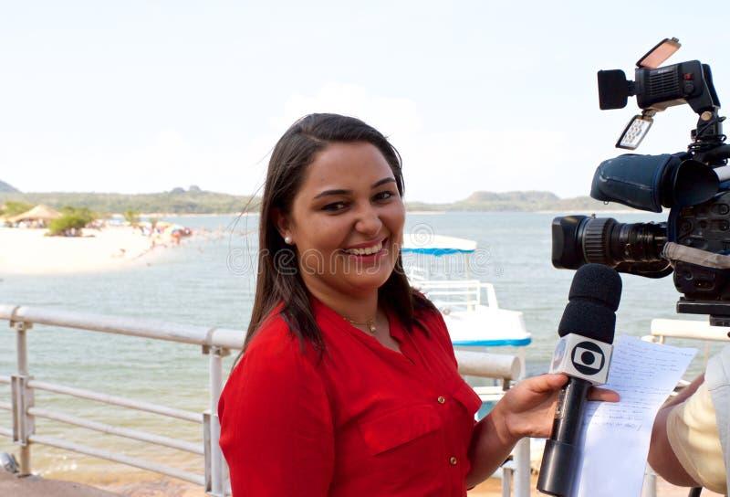 Brazylia, Santarém /Alter robi Chão: Brazylijski TV reporter - portret fotografia stock