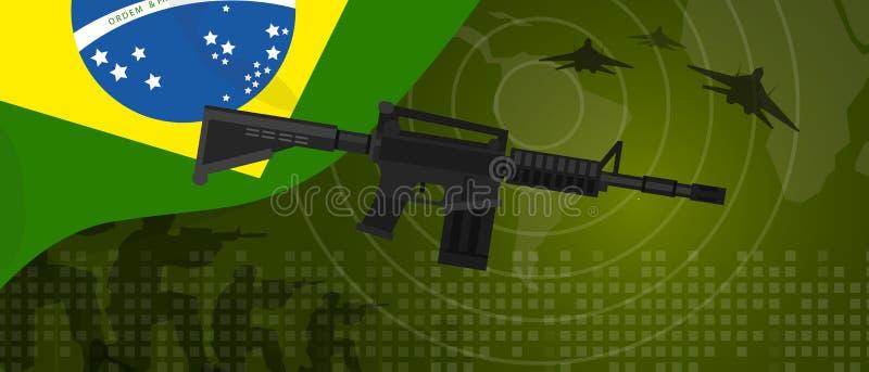 Brazylia siły militarnej wojska przemysłu obronnego wojna i walka kraju krajowy świętowanie z armatnim żołnierza myśliwem odrzuto royalty ilustracja