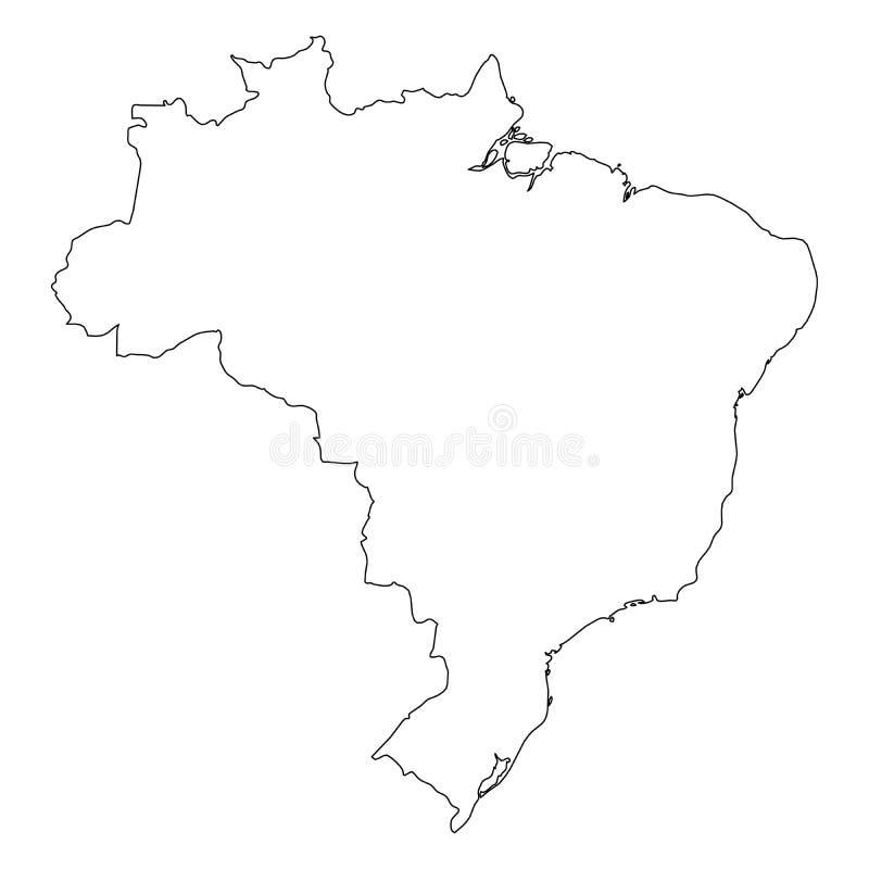 Brazylia - stała czarna kontur granicy mapa kraju teren Prosta płaska wektorowa ilustracja ilustracji