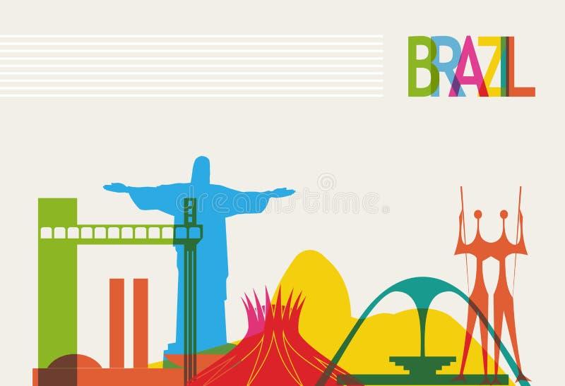 Brazylia turystyki linia horyzontu ilustracja wektor