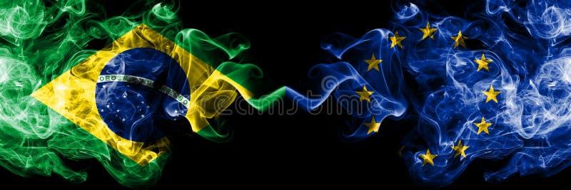 Brazylia vs unia europejska, UE dymu flaga umieszczająca strona strona - obok - Gęste barwione silky dymne flagi brazylijczyk i royalty ilustracja