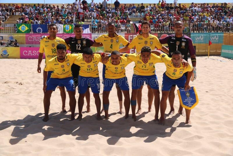 Brazylijczyka DRUŻYNOWY uszeregowanie MUNDIALITO - portugalczyk drużyna 2017 Carcavelos Portugalia obraz royalty free