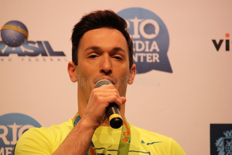 Brazylijska gimnastyczka medalu zwycięzców konferencja prasowa obraz stock