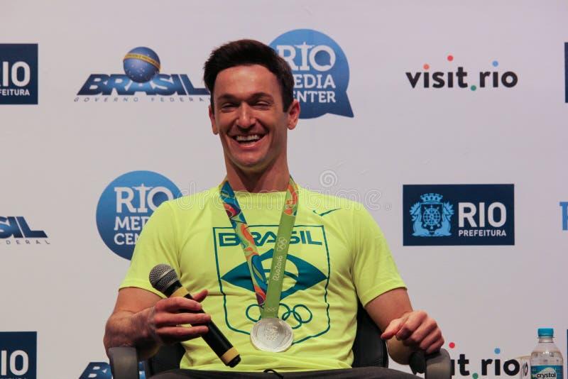 Brazylijska gimnastyczka medalu zwycięzców konferencja prasowa obrazy stock