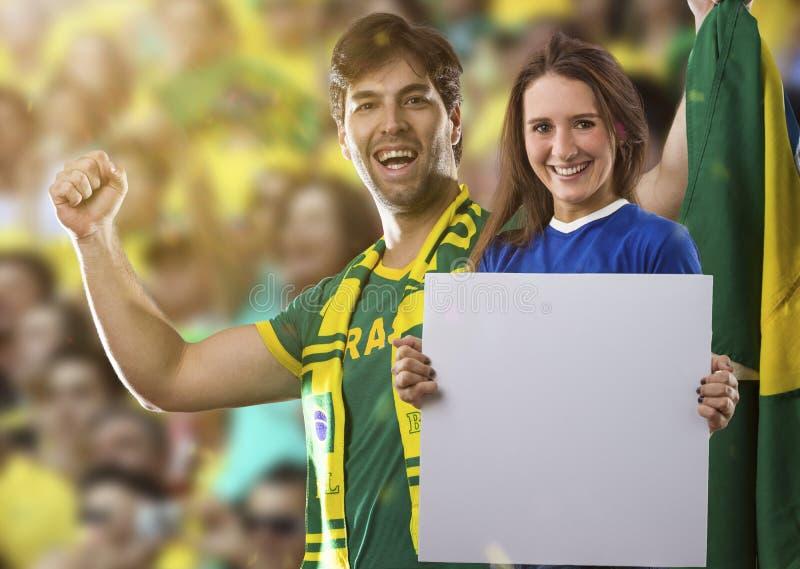 Brazylijska pary odświętność na stadium fotografia stock