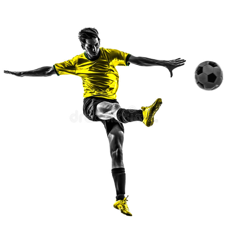 Brazylijska piłka nożna gracza futbolu młodego człowieka kopania sylwetka obrazy stock