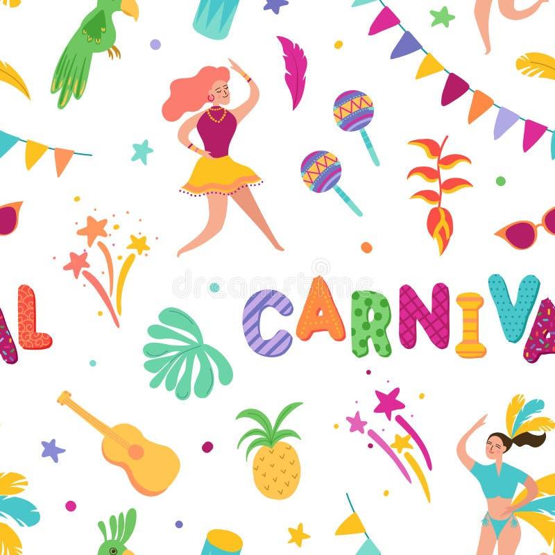 Brazylijski Karnawałowy Bezszwowy wzór Brazylia samby tancerza charaktery Karnawałowi Rio De Janeiro festiwal z dziewczynami royalty ilustracja