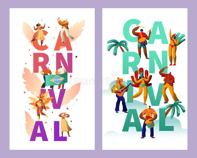 Brazylijski Karnawałowy charakter typografii plakata set Piórkowego bikini kobiety tana lata Tropikalna rumba Mężczyzna sztuki gi ilustracji