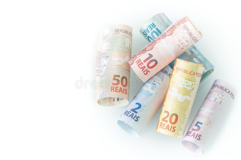 Brazylijski pieniądze, reais/, różnorodny wyznanie na białym tle fotografia royalty free