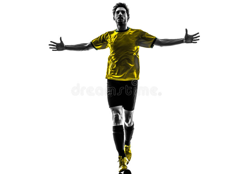 Brazylijskiego piłka nożna gracza futbolu szczęścia radości mężczyzna młody silhoue fotografia stock