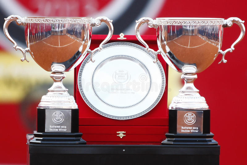 BRD打开2013双决赛:Horia Tecau/最大Mirnii对Dlouhy/Marach 库存图片