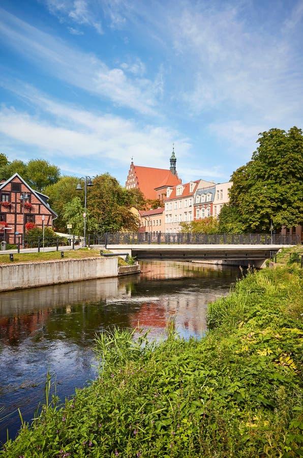 Brda-Kanal auf der Insel Mlynska in Bydgoszcz, Polen lizenzfreie stockfotos