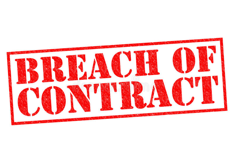BREACH OF CONTRACT. Red Rubber Stamp over a white background vector illustration