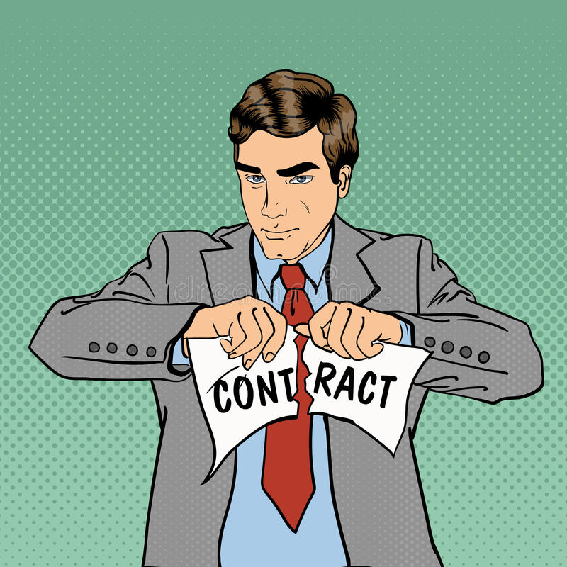 Breach of Contract. Serious Businessman. Pop Art. Breach of Contract. Unsuccessful Business Negotiations. Serious Businessman. Pop Art. Vector illustration stock illustration