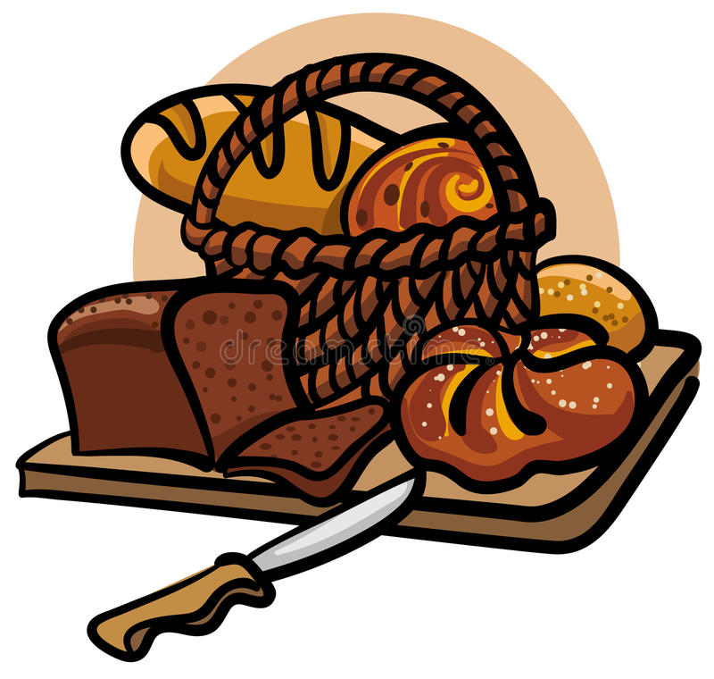 Bread. Various of bread on the cutting board royalty free illustration