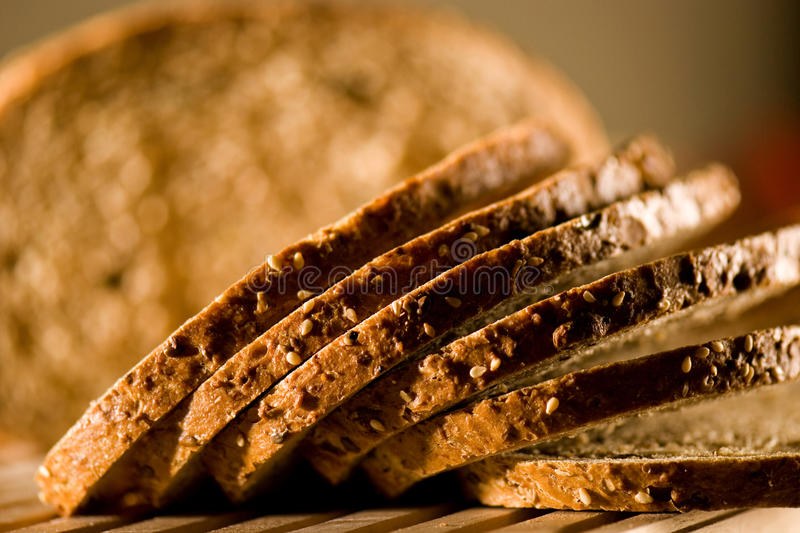 Bread. Detail of slices of brown bread royalty free stock photo