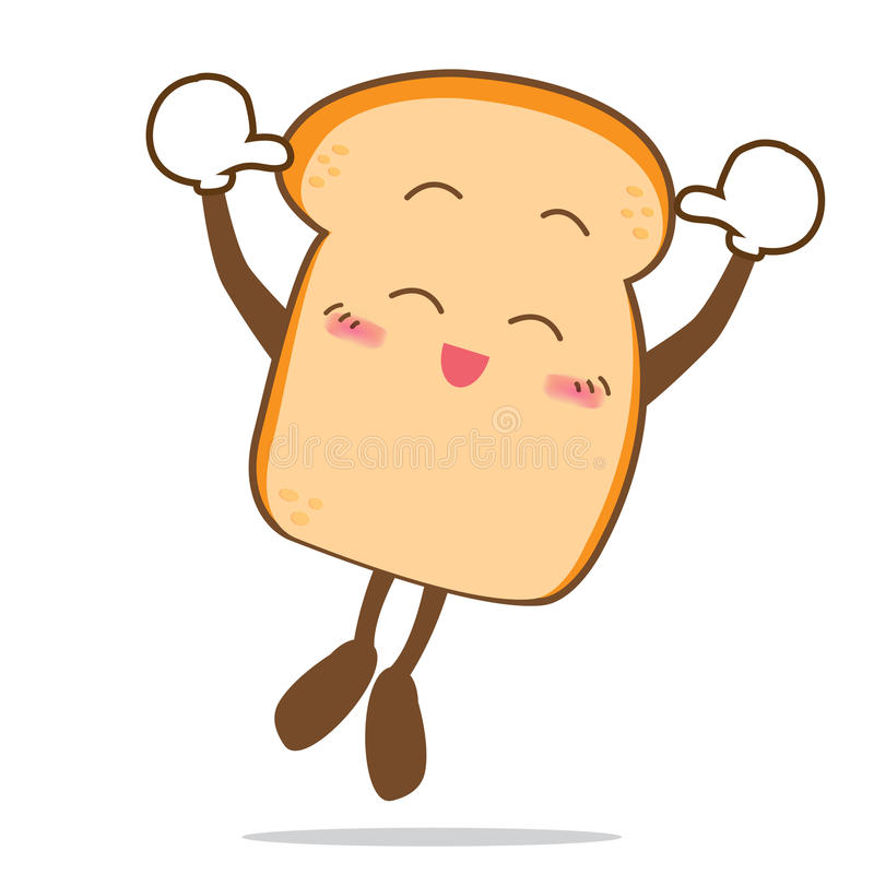 Bread-12 aisló la parte de salto de la sonrisa feliz de la historieta del pan libre illustration