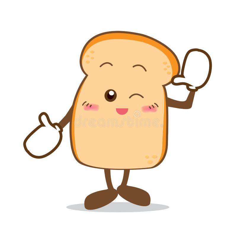Bread-07 aisló la parte feliz de la sonrisa de la historieta del pan ilustración del vector