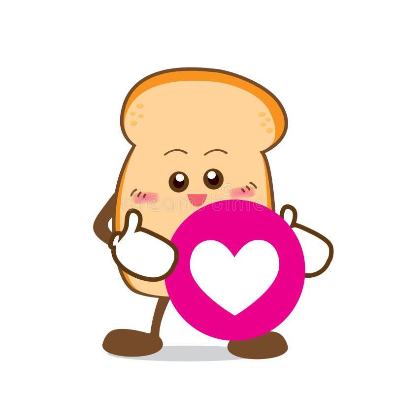 Bread-16 aisló la parte feliz de la sonrisa de la historieta y del corazón del pan libre illustration