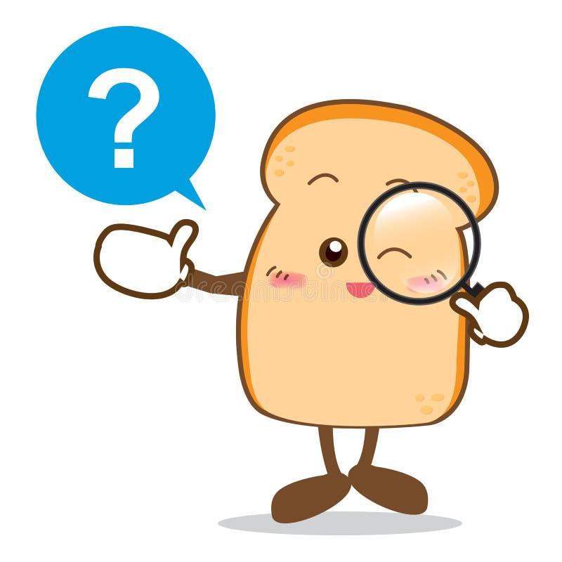 Bread-14 aisló la sonrisa feliz que buscaba algo rebanada de pan ilustración del vector