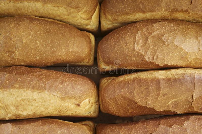 Bread background, top view of white loaves. Many breads shot from above stock photos