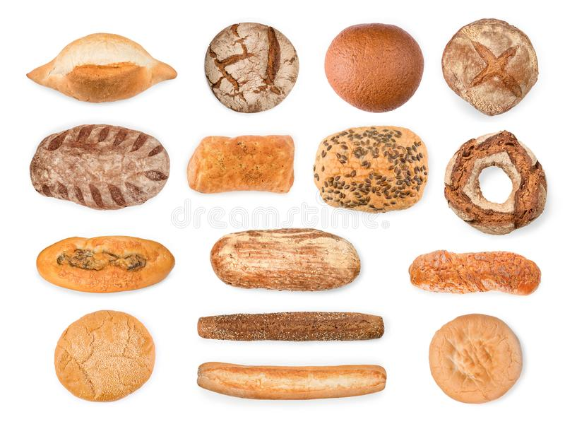 Bread, baguettes and cake collection isolated with clipping path. Large bread, baguettes and cake collection. Top view isolated on white, clipping path included stock photos