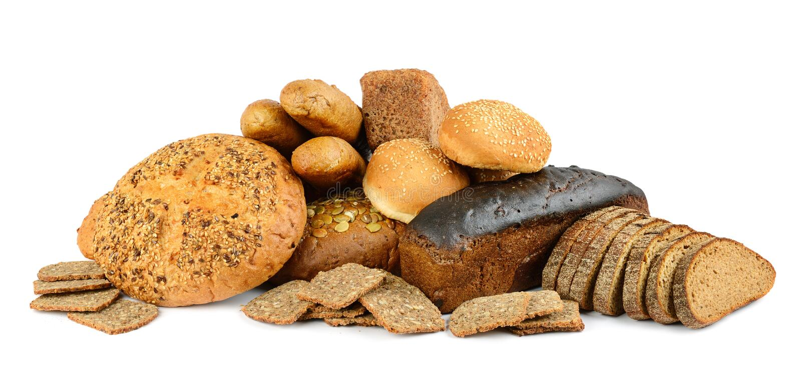 Bread and baked goods isolated on white background. Side view royalty free stock photo