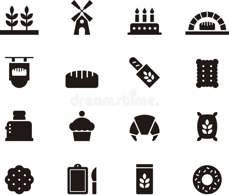 Bread and bakery icon set. Set of flat glyph icons relating to bread and bakeries vector illustration
