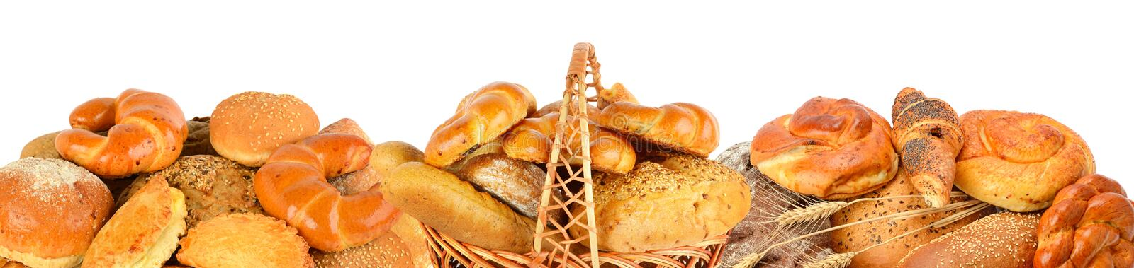 Bread and bakery products isolated on white background. Panoramic collage. Wide photo . stock photo