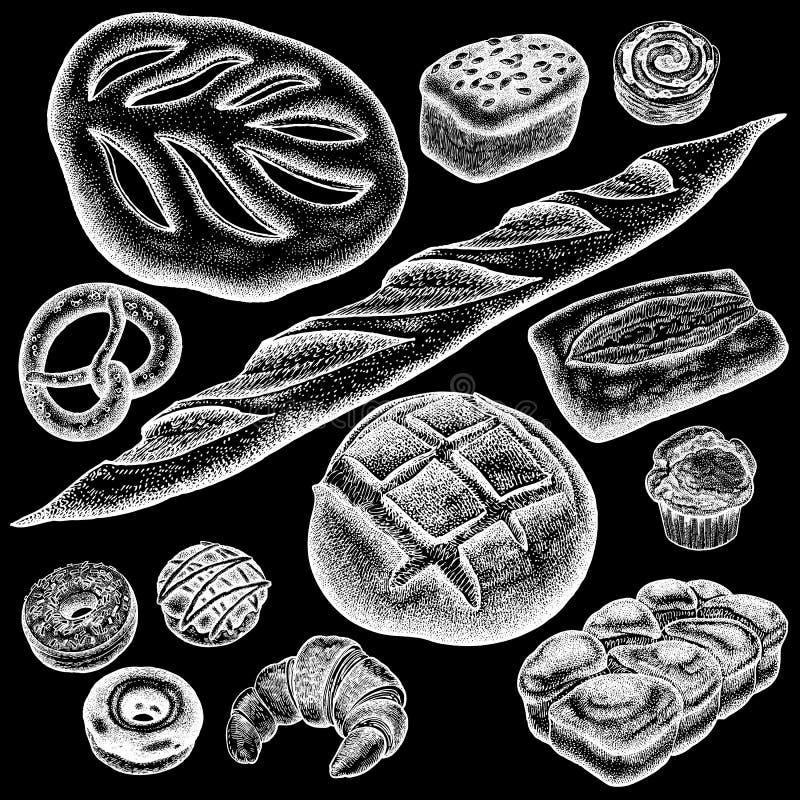 Bread. Bakery set stock illustration