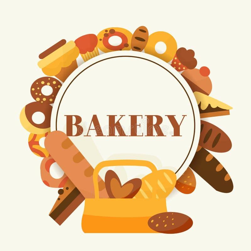 Bread for bakery vector cartoon illustration. Rye, whole grain and wheat bread, pretzel, muffin, pita, ciabatta royalty free illustration