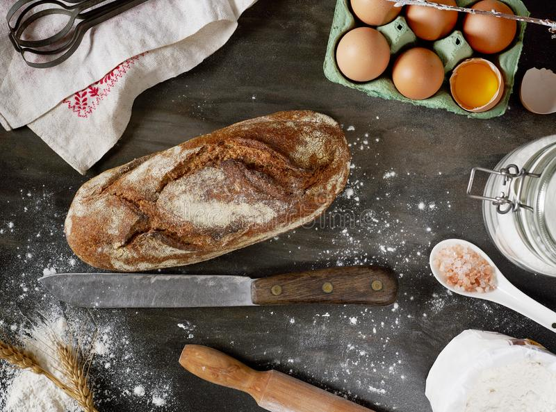 Baking bread from above stock photography