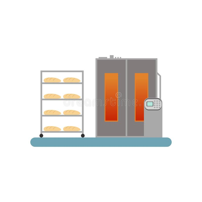 Bread baking in the oven, stage of bread production process vector Illustration on a white background stock illustration