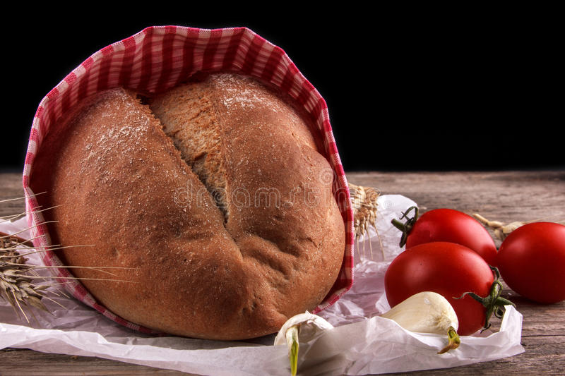 Bread on a baking paper stock images