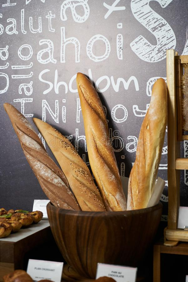 Bread bar station in buffet catering, close-up. Assortment of fr royalty free stock photo