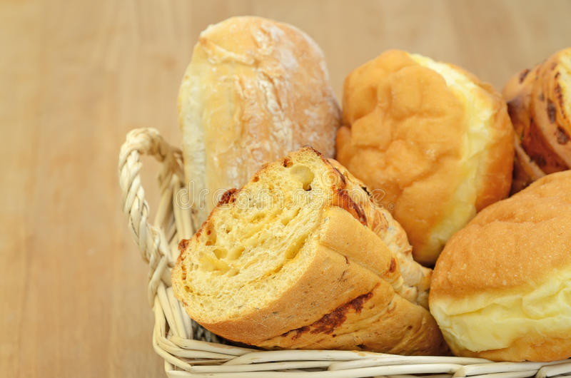 Download Bread in a basket stock photo. Image of meal, donut, basket - 25194624