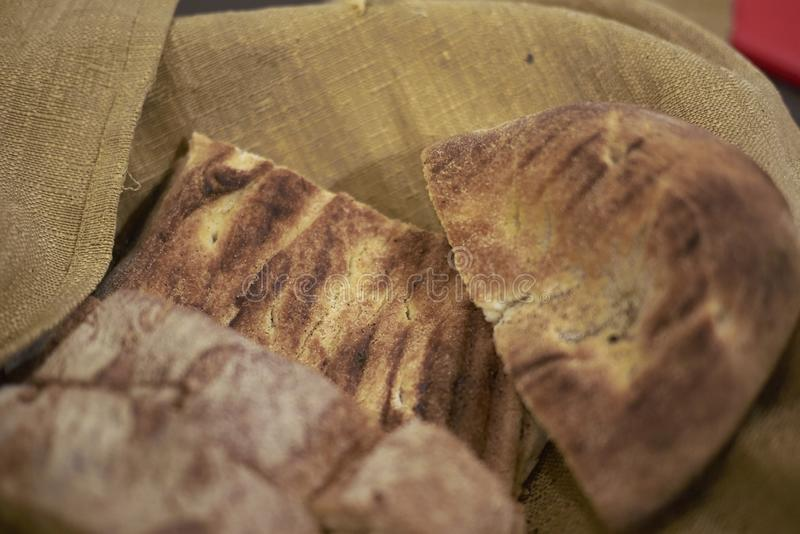 Bread basket with focaccia royalty free stock photography