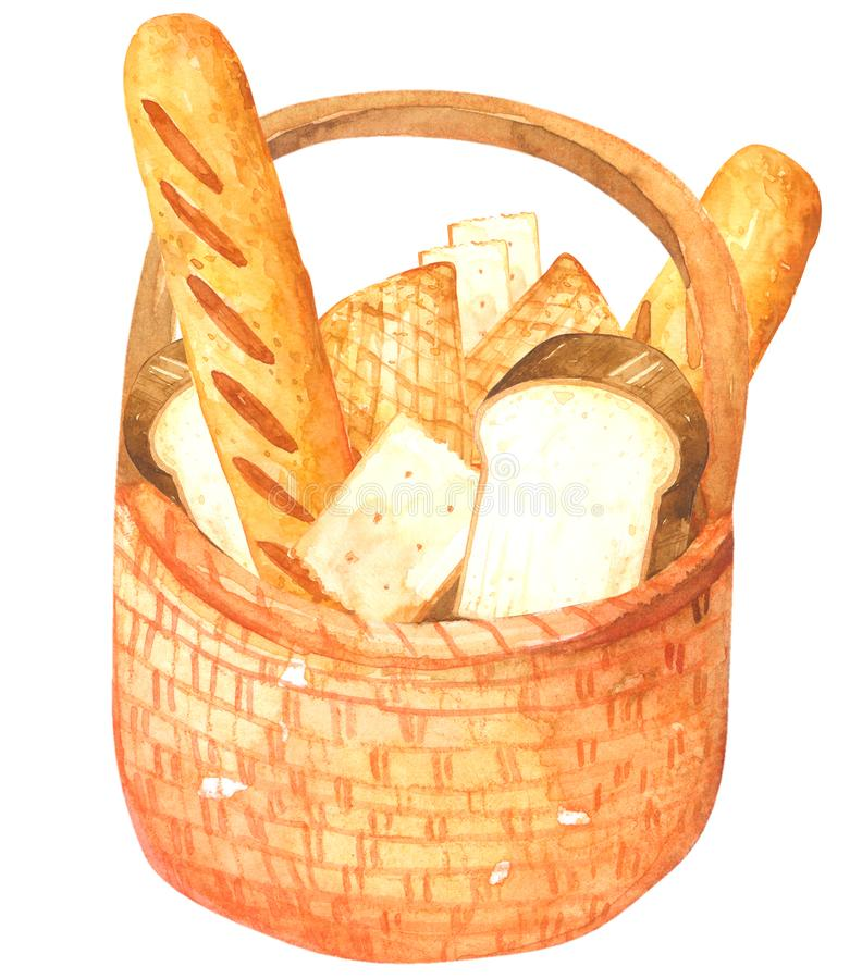 Bread in Basket watercolor on white background Hand drawn painting stock photos