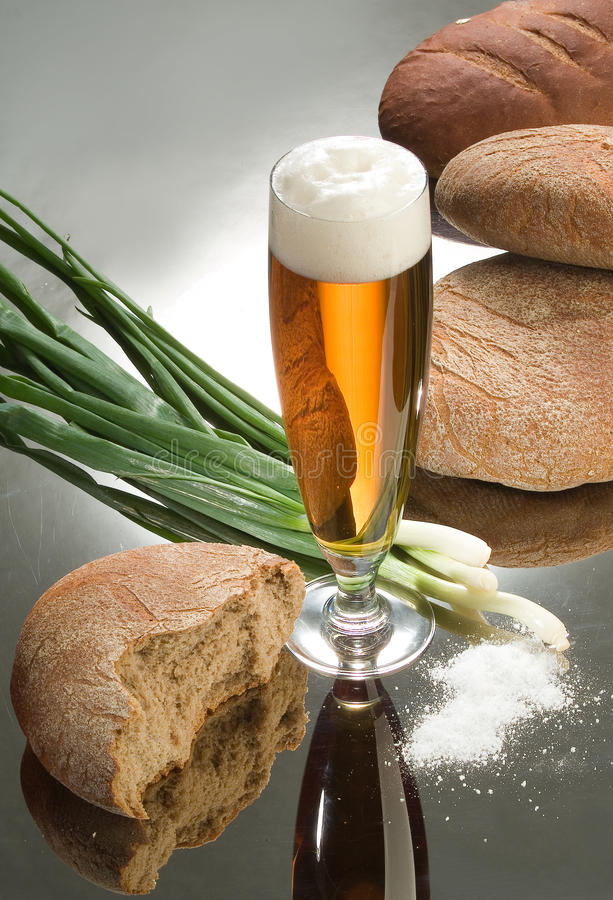 Download Bread And Beer stock photo. Image of baked, eating, flour - 9648126
