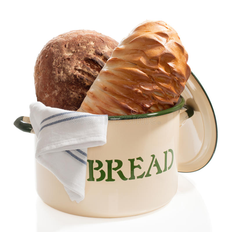 Bread Bin with Loaves stock images