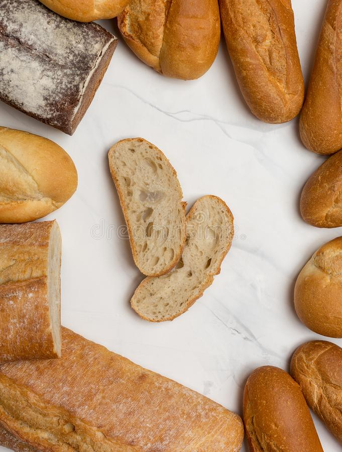 Bread at border on white background royalty free stock photos